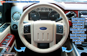 2010 2011 2012 2013 2014 Ford Expedition leather Wrap Steering Wheel Cover Tan