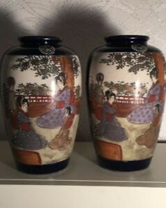 A Pair Of Antique Chinese Oriental Vases