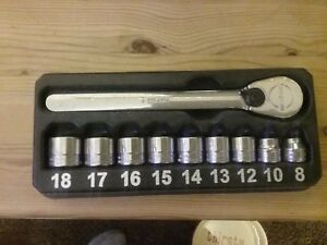 Snapon 10 Piece 3 8 Drive Metric Low Profile Hex Socket Set 8 10 12 18mm New