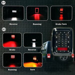 2 X Led Transpa Auto Led Tail Lights Lamps For Jeep Wrangler Jk 07 16 With Brake