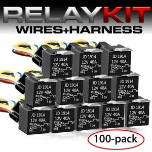 New 100x12v Car Spdt Automotive Relay 5 Pin 5 Wires W harness Socket 30 40 Amp K