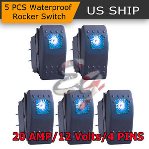 5x 4 Pin Marine Boat Car Rocker Toggle Switch Spst On Off Led Light Bar 12v Blue