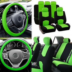 Flat Cloth Car Seat Covers Green Black 2row Set W Silicone Steering Wheel Cover