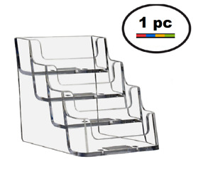 One Acrylic Plastic Business Card Holder Deflecto Style Clear 4 Pocket