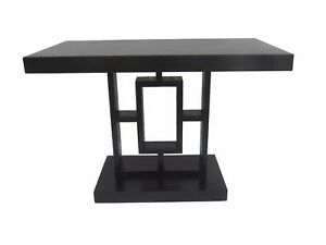 Art Deco Ebonized Side Table Black Geometric Arts Crafts Mission Accent Table