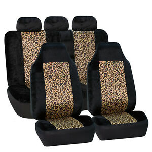 2tone Black leopard Pattern Velour 2row Set Car Seat Covers For Highback Buckets