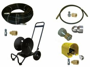 Sewer Jetter Kit Foot Valve 150 X 3 8 Hose Reel And Nozzles