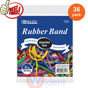 36pk Bazic Assorted Sizes Rubber Bands Multi Color