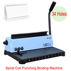 Manual All Steel Metal Spiral Coil 34holes Punching Binding Machine 120 Pages Ce