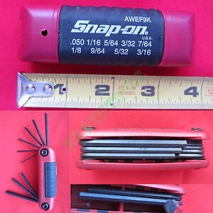 New Snap On Folding Standard Hex Wrench Set With Burgundy Plastic Handle Awef9k