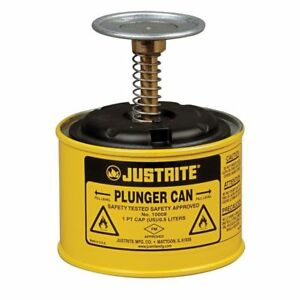 Plunger Can 1 Pt steel yellow Justrite 10018