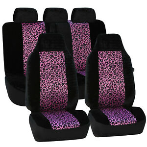 Purple Black Leopard Pattern Velour 2row Set Car Seatcovers For Highback Buckets