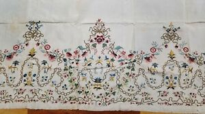 Finest Quality Early Antique European Embroidery Panel On Silk Floral Motif