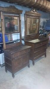 Vintage Antique Tiger Oak Dresser S With Mirrors Nice Set