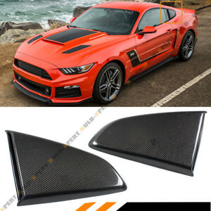 For 2015 17 Mustang R Style Carbon Fiber Side Window Quarter Scoop Louver Covers