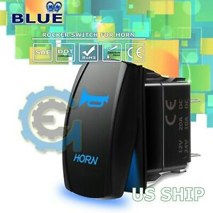 Led Waterproof Blue Horn Momentary Rocker Switch Laser Etched 12v 20a Led Car