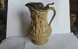Early 19th Century Wedgwood Cherub Stoneware Jug With James Dixon Pewter Lid