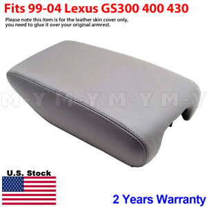 Fits 1999 2004 Lexus Gs300 Gs400 Gs430 Armrest Console Lid Leather Cover Gray