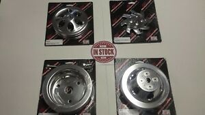 Billet Specialties Polished Sbc Short Water Pump Premium Pulley Kit V Belt