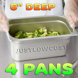 4 pack 6 Deep 1 3 Size Steam Prep Stainless Steel Steam Table Hotel Pan Food