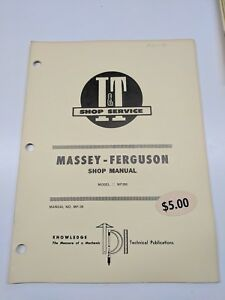Massey Ferguson Shop Service Manual I t Series Model Mf285 Mf 36 Tractor