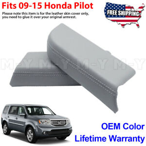 Fits 2009 2015 Honda Pilot Leather Front Door Panels Armrest Cover 2pcs Oem Gray