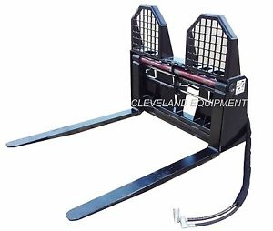 New 48 Hydraulic Pallet Forks Walk Through Thru Frame Attachment Skid Steer