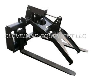 New Adjustable Fork Grapple Attachment Bobcat Skid steer Loader Hydraulic Pallet