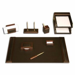 Teo Walnut Black Genuine Leather Desk Set 10pc