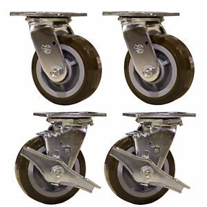 5 Heavy Duty Swivel Casters 2 With Brakes Polyurethane Wheel _ Service Caster
