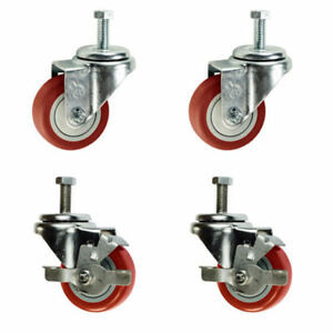 3 Inch Swivel Casters 2 With Brake 3 8 Threaded Stem 3 Non Marking Red