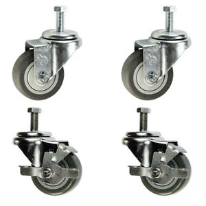 3 Inch Swivel Casters 2 With Brake 1 2 Threaded Stem 3 Non Marking