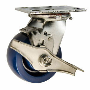 4 Stainless Steel Swivel Caster Solid Poly Wheel With Brake 1200 Lbs Cap