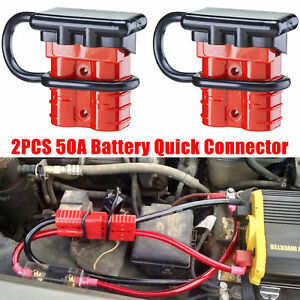 2x Car Battery Connector Quick Connect Disconnect 6 12 Gauge 50a W Terminal Pin
