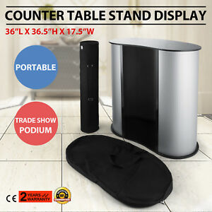 Podium Table Counter Stand Trade Show Display Portable Oval Bean Lightweight
