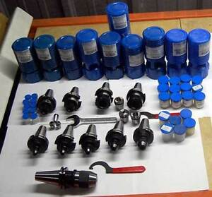 40 Pcs Bison Cat40 Complete Cnc Mill Tooling Package collet Chuck holder collet