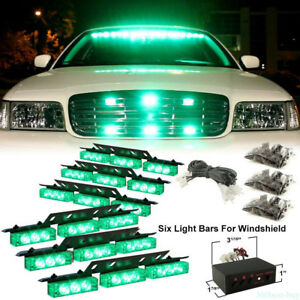 Car Truck Strobe Green Emergency Warning Light Deck Dash Grille Lights 54 Led