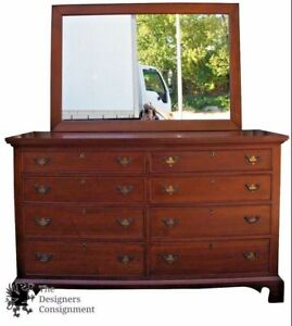 Craftique Solid Mahogany Chippendale Style Locking Double Dresser Mirror Chest