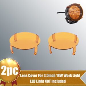 2x Snap On Amber Lens Cover For 3 5 Inch 18w Offroad Led Work Light Fog Lamp