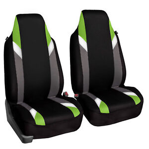 Supreme Modernistic High Back Pair Bucket Car Auto Suv Covers Green Black