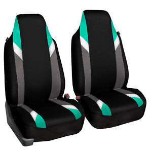 Supreme Modernistic High Back Pair Bucket Car Auto Suv Covers Mint Black