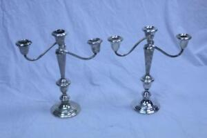 Gorham Candelabra 808 3 Light Pair Candlesticks American Sterling Silver