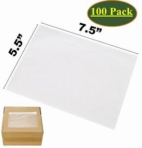 100x 7 5 X 5 5 Clear Packing List Pouches Shipping Label Envelopes Self Adhesive