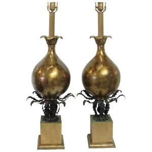 Pair Hollywood Regency Murano Style Gold Glass And Tole Table Lamps