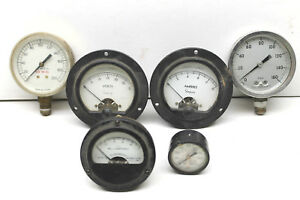 6 Antique Gauges Psi milliamperes psig amperes cylinder Pressure volts Steampunk