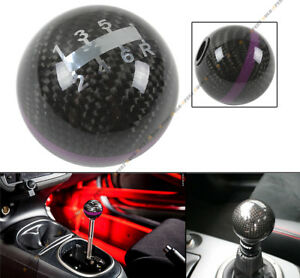 M10 X 1 25 Round Carbon Fiber Jdm 6 Speed Shift Knob Purple Strip For Mitsubishi
