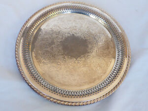 Vtg Wm A Rogers By Oneida Silver Plated 12 Serving Tray Round Pierced Edge