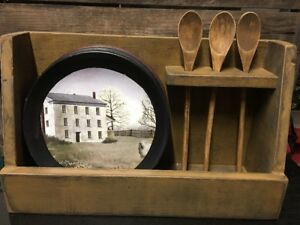 Country Primitive Kitchen Wood Mustard Color Plate Spoon Holder 18 X 6 X 11