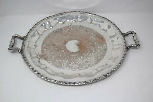 Silver On Copper Butler Serving Tray Handles National Silver Heavy A