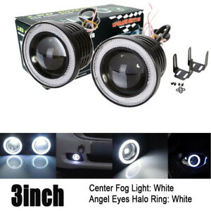 Universal 3 Inch 76mm Projector Fog Lights Bumper Lamps White Halo Ring Drl 12v